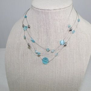 Lia Sophia Silver and Blue Beaded Necklace